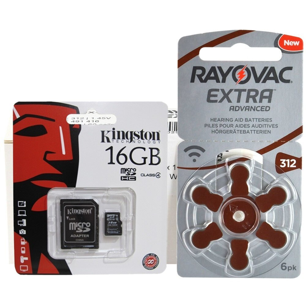 120 x baterie do aparatów słuchowych Rayovac Extra Advanced 312 + karta microSD 16GB Kingston