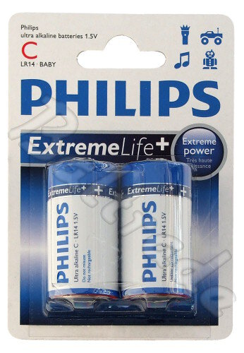 2 x Philips ExtremeLife LR14 C (blister)