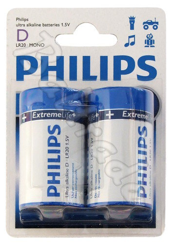 2 x Philips ExtremeLife LR20 D (blister)