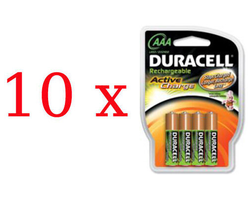 40 x DURACELL ActiveCharge R03 AAA Ni-MH 800mAh
