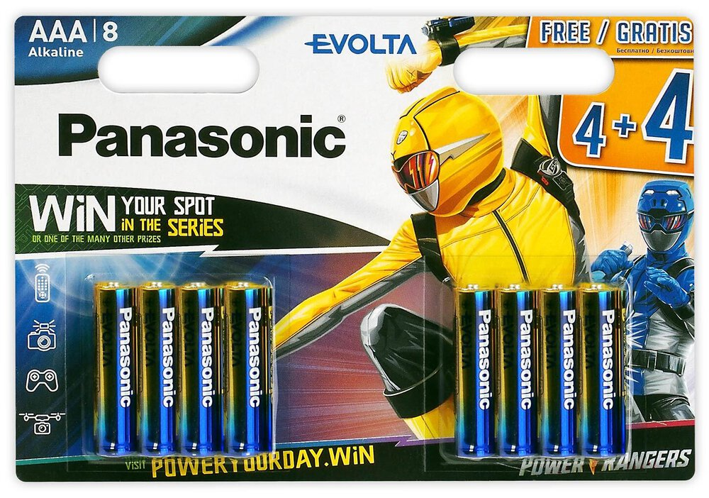 8 x Panasonic Evolta LR03/AAA Power Rangers (blister)
