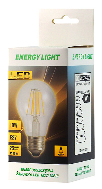 Żarówka LED Filament E27 10W bańka Energy Light