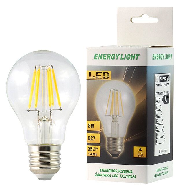 Żarówka LED Filament E27 8W bańka Energy Light