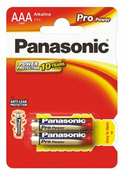 2 x Panasonic Alkaline PRO Power LR03/AAA (blister)