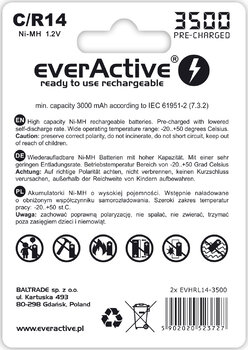 2x akumulatorki everActive R14/C Ni-MH 3500 mAh ready to use