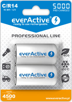 2 x akumulatorki everActive R14/C Ni-MH 5000 mAh ready to use