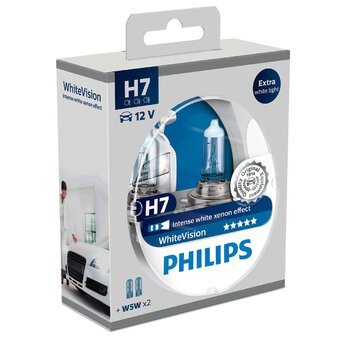 2x Philips H7 WhiteVision + 2x W5W