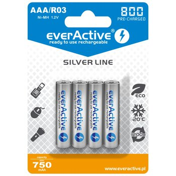 4 x akumulatorki everActive R03/AAA Ni-MH 800 mAh ready to use