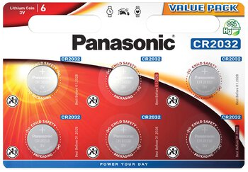 6 x bateria litowa mini Panasonic CR2032
