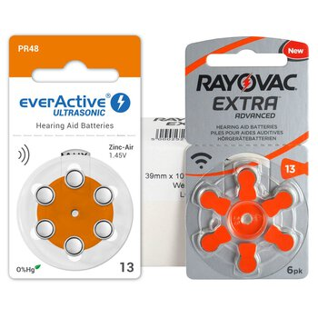 60 x baterie do aparatów słuchowych Rayovac Extra Advanced 13 + 6 x everActive ULTRASONIC 13