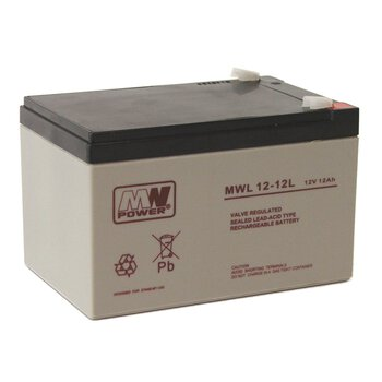 Akumulator AGM MW POWER seria MWL 12-12L / 12V 12Ah T2