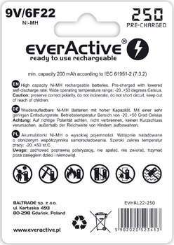 akumulatorek everActive 6F22/9V Ni-MH 250 mAh ready to use