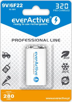 akumulatorek everActive 6F22/9V Ni-MH 320 mAh ready to use