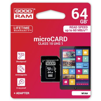 karta pamięci GOODRAM microSDXC 64GB class 10 UHS-I + adapter SD