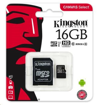 karta pamięci Kingston Canvas Select microSDHC 16GB class 10 UHS-I U1 - 80MB/s + adapter SD