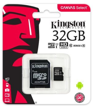 Karta pamięci Kingston Canvas Select microSD (microSDHC) 32GB class 10 UHS-I U1 - 80MB/s + adapter