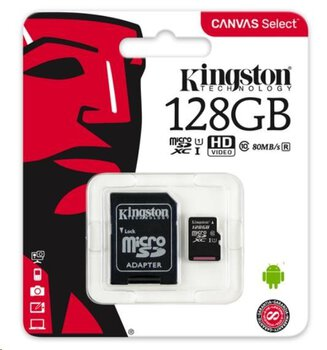 Karta pamięci Kingston Canvas Select microSD (microSDXC) 128GB class 10 UHS-I U1 - 80MB/s + adapter SD