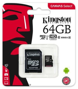 karta pamięci Kingston Canvas Select microSDXC 64GB class 10 UHS-I U1 - 80MB/s + adapter SD