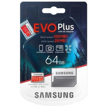 Karta pamięci Samsung EVO PLUS microSDXC 64GB UHS-I U1 class 10 + adapter do SD