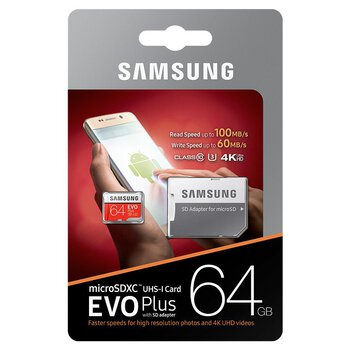 Karta pamięci Samsung EVO PLUS microSDXC 64GB UHS-I U3 class 10 60/100MB/s + adapter do SD
