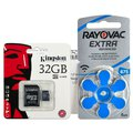 120 x baterie do aparatów słuchowych Rayovac Extra Advanced 675 + karta microSD 32GB Kingston