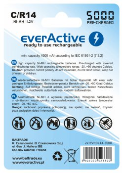 2x akumulatorki everActive R14/C Ni-MH 5000 mAh ready to use