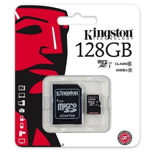 karta pamięci Kingston microSDXC 128GB class 10 UHS-I + adapter SD