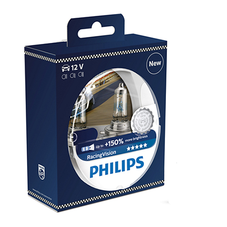 2x Philips h4 Racing Vision +150%
